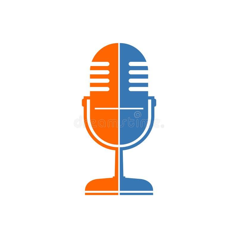Оранжевый и голубой ретро значок микрофона иллюстрация штока