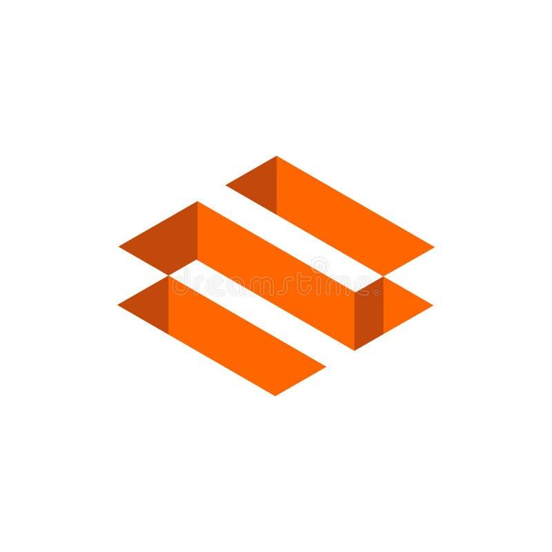 Оранжевый логотип n письма цвета Равновеликая геометрическая форма, дизайн значка 3D - вектор иллюстрация штока