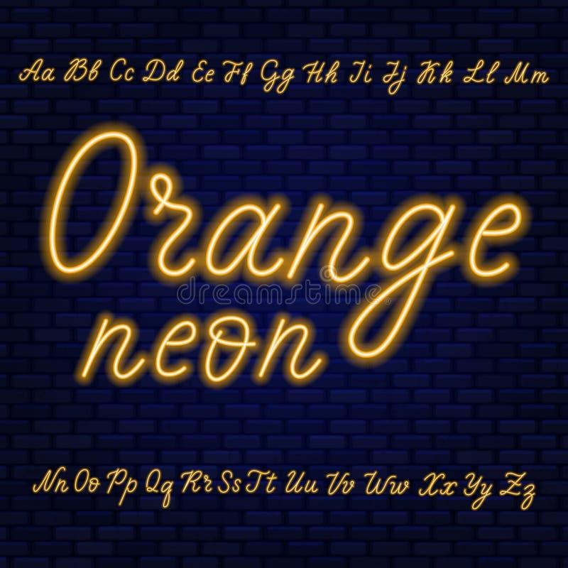 Оранжевый неоновый сценарий Uppercase и строчные буквы бесплатная иллюстрация