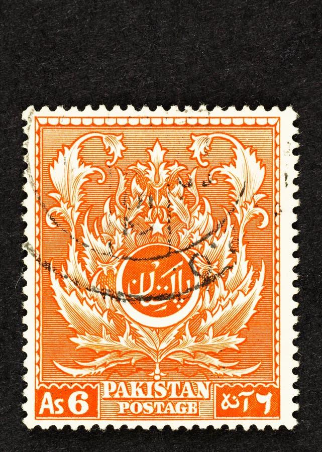 Оранжевый пакистанский штамп с листовой структурой стоковая фотография rf