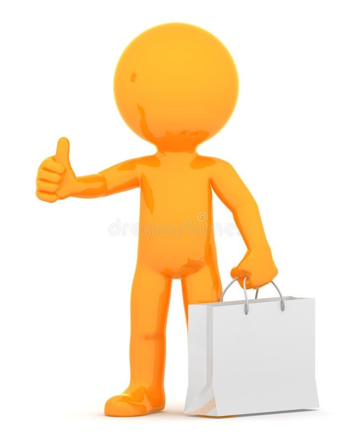 Оранжевый парень с хозяйственной сумкой иллюстрация вектора