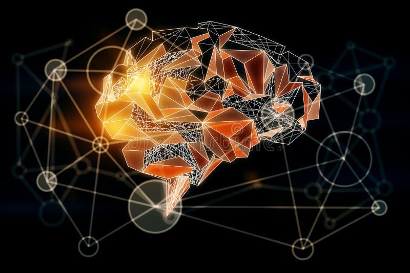 Оранжевый полигональный мозг иллюстрация штока