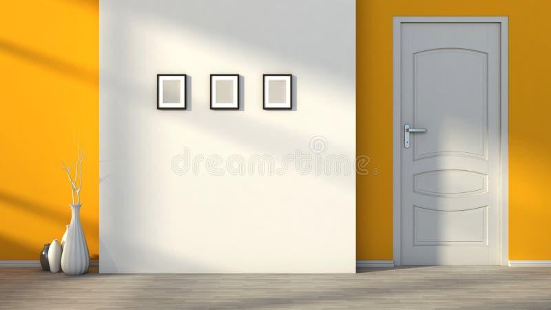Оранжевый пустой интерьер с белой дверью иллюстрация штока