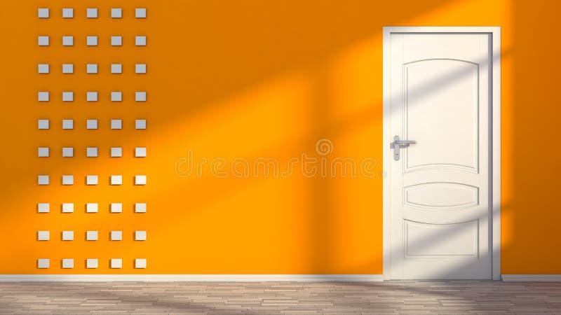 Оранжевый пустой интерьер с белой дверью бесплатная иллюстрация