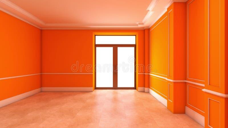 Оранжевый пустой интерьер с дверью иллюстрация штока