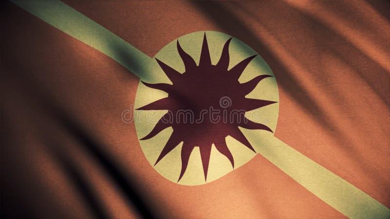 Оранжевый развевая флаг с солнцем и копьем, безшовной петлей Яркая, абстрактная эмблема дома Martell, игра тронов стоковое фото rf