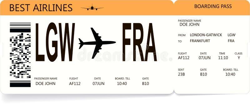 Оранжевый реалистический билет посадочного талона авиакомпании бесплатная иллюстрация