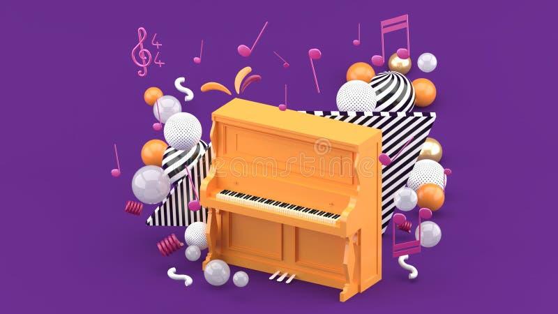 Оранжевый рояль окружен примечаниями и красочными шариками на пурпурной предпосылке иллюстрация вектора