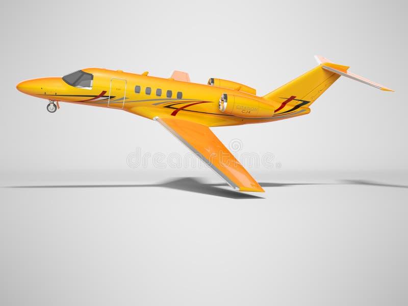 Оранжевый самолет дела для взгляда со стороны 3d полета представить на серой предпосылке с тенью бесплатная иллюстрация