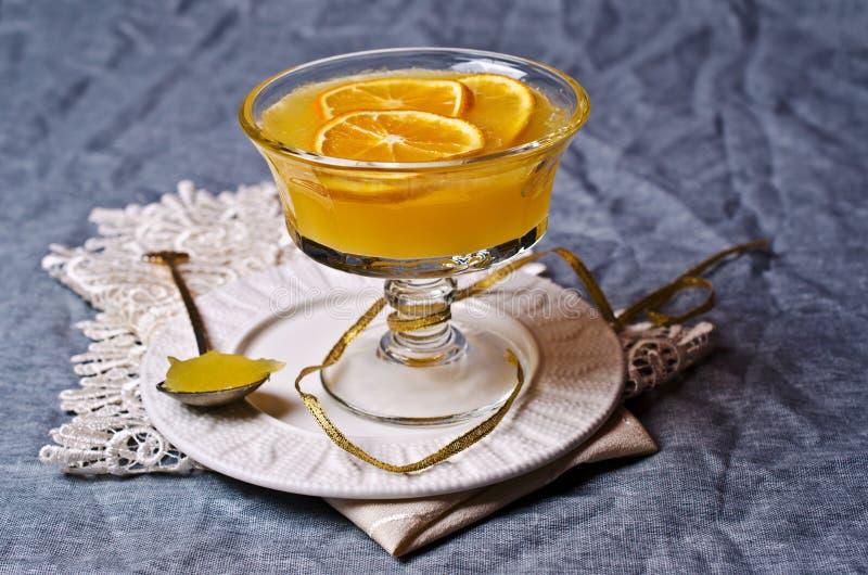 Оранжевый студень в стекле стоковая фотография rf