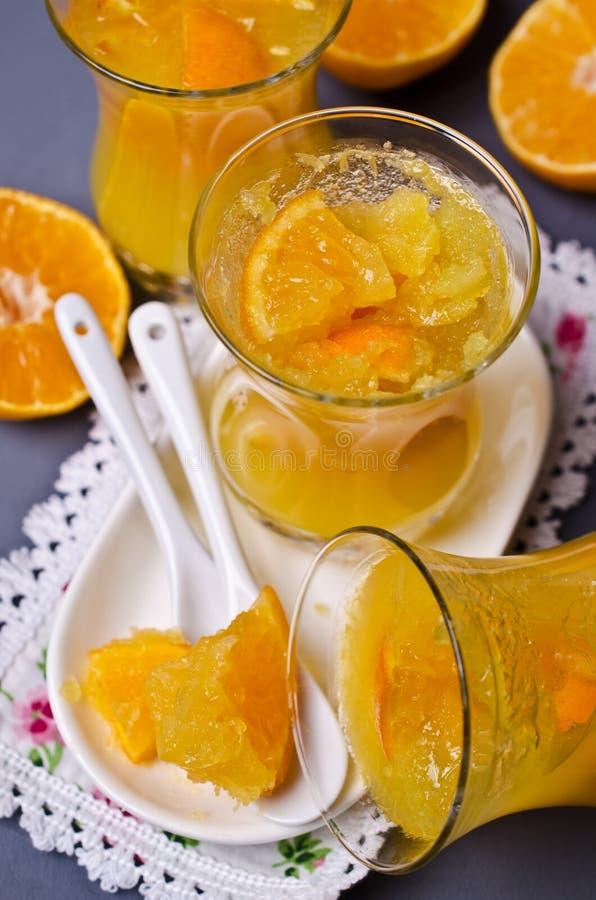 Оранжевый студень в стекле стоковые фотографии rf
