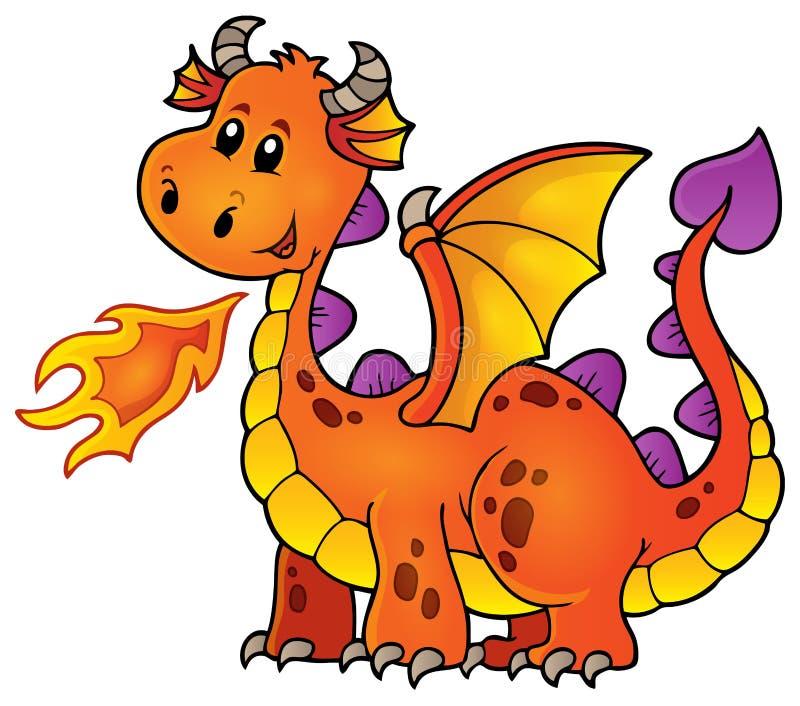 Оранжевый счастливый дракон иллюстрация вектора