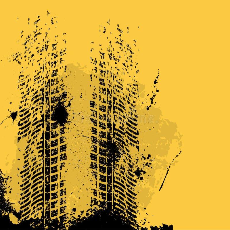 Оранжевый след автошины grunge иллюстрация штока