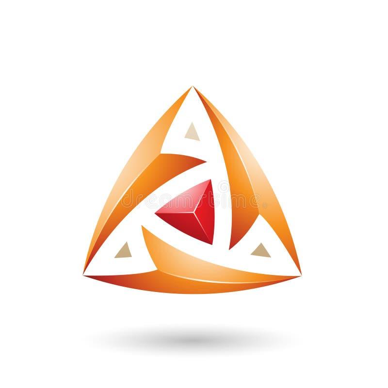 Оранжевый треугольник с иллюстрацией вектора стрелок иллюстрация штока