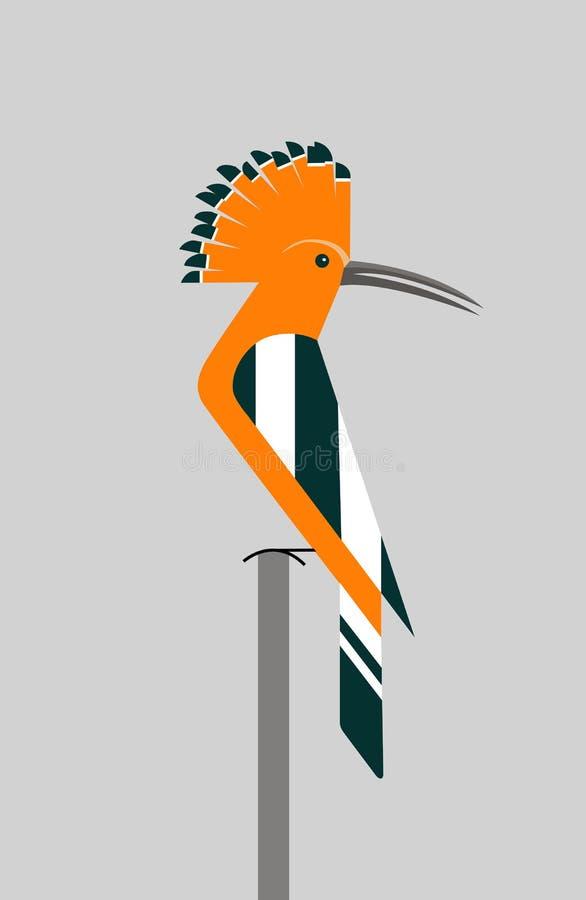 Оранжевый удод сидит на ветви иллюстрация вектора