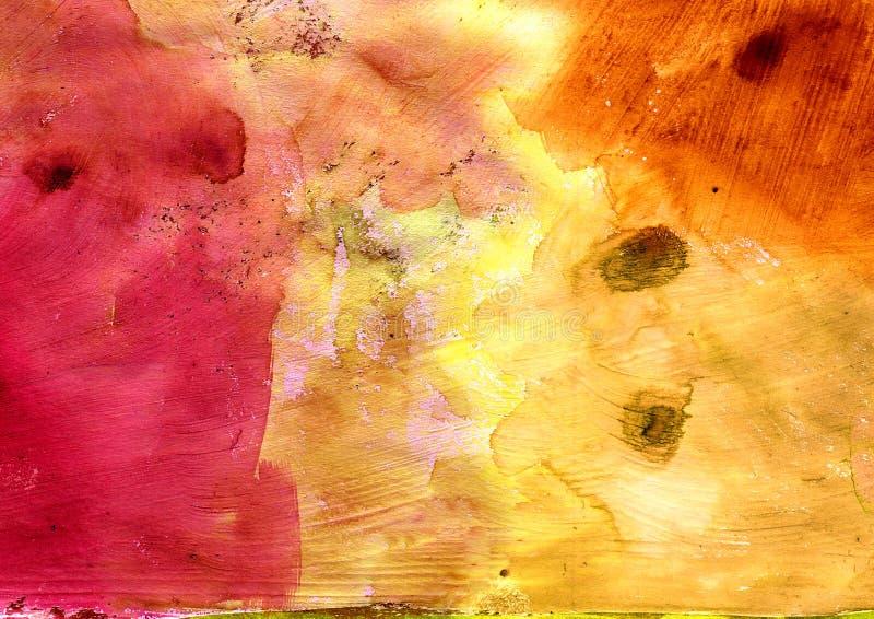 Оранжевый художнический конспект покрасил текстуру, картину grunge, декоративную желтую картину, случайные ходы щетки иллюстрация штока