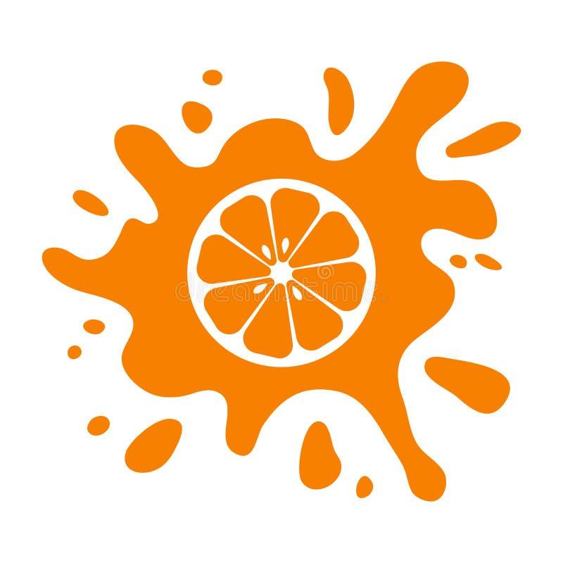 Оранжевый цитрус плода, выплеск сока изолированный на белой предпосылке r иллюстрация штока