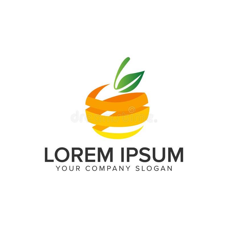 оранжевый шаблон идеи проекта логотипа плода 3D бесплатная иллюстрация