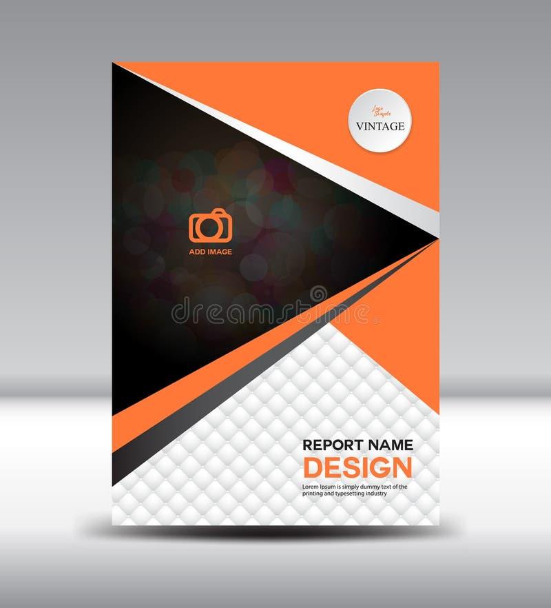 Оранжевый шаблон рогульки буклета годового отчета дизайна крышки и крышки иллюстрация штока