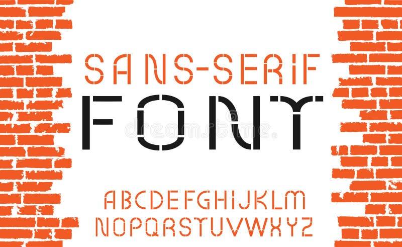 Оранжевый шрифт Sans Serif на старой предпосылке кирпичной стены также вектор иллюстрации притяжки corel бесплатная иллюстрация