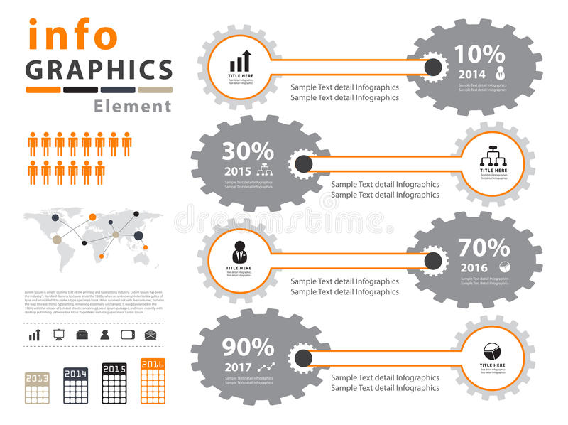 Оранжевый infographic шаблон вектора бесплатная иллюстрация