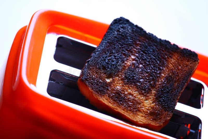 Оранжевым сгорели тостером, который студия здравицы качественная стоковое изображение rf