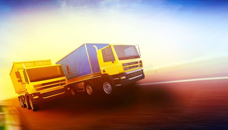 2 оранжевых полу-тележки с грузовыми контейнерами бесплатная иллюстрация