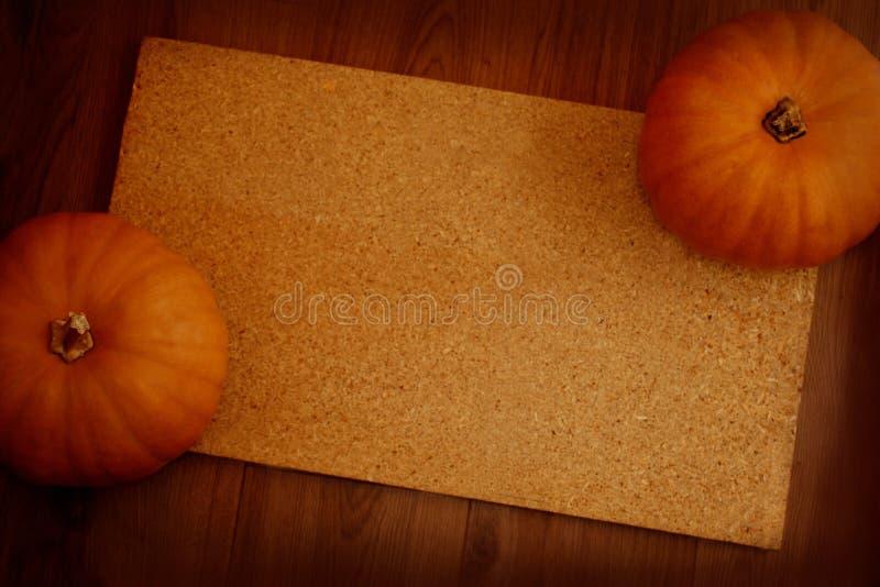 2 оранжевых тыквы как рамка космоса экземпляра стоковая фотография rf