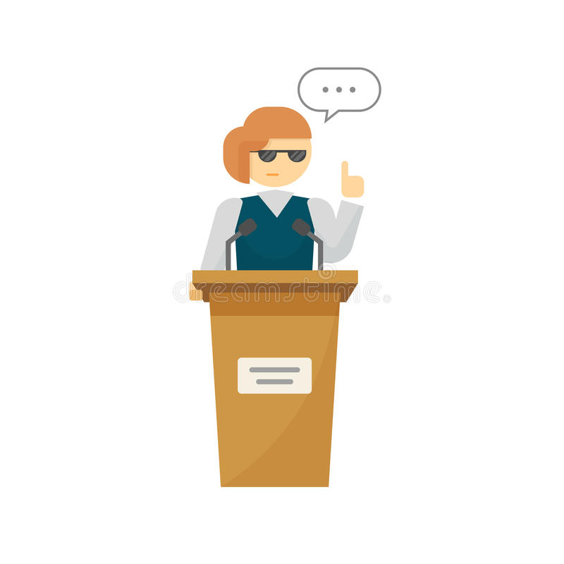 Оратор-женщина на векторе подиума, женщина шаржа около говорить трибуны иллюстрация штока