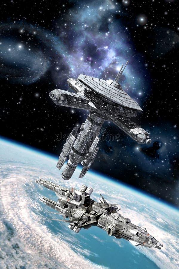 Орбитальные космическая станция и космический корабль иллюстрация вектора