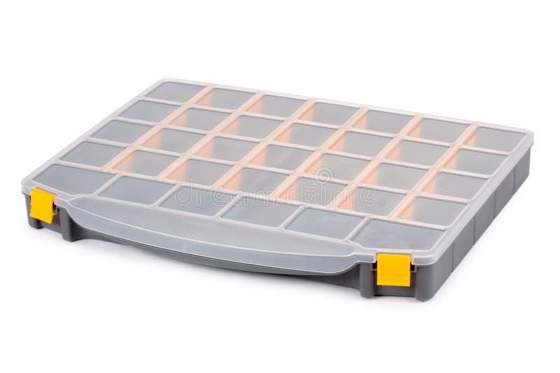 Организатор инструмента пластичной коробки изолированный на белой предпосылке стоковые фотографии rf