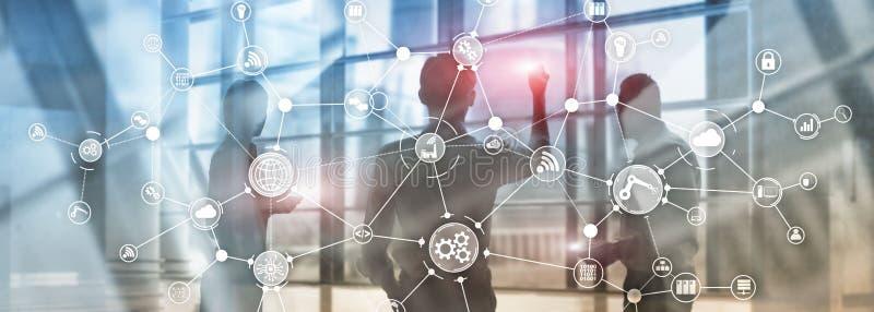Организационная структура потока операций бизнес-процесса технологии промышленная на виртуальном экране Мультимедиа концепции инд иллюстрация вектора