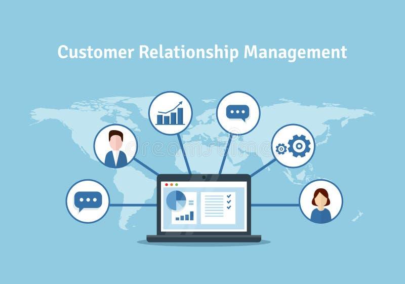 Организация данных на работе с клиентами, концепции CRM Иллюстрация управления отношения клиента бесплатная иллюстрация