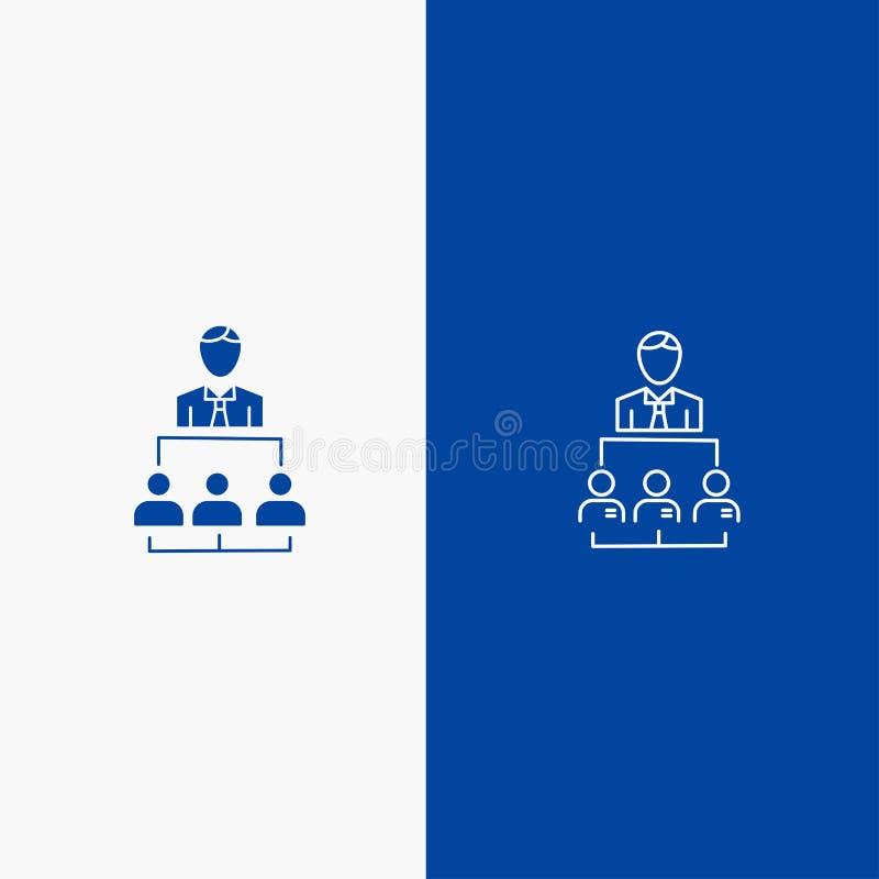 Организация, Бизнес, Человек, Лидерство, Линия управления и Глиф Твердые значки Синий баннер Линия и Глиф Твердый значок Синий фл иллюстрация вектора
