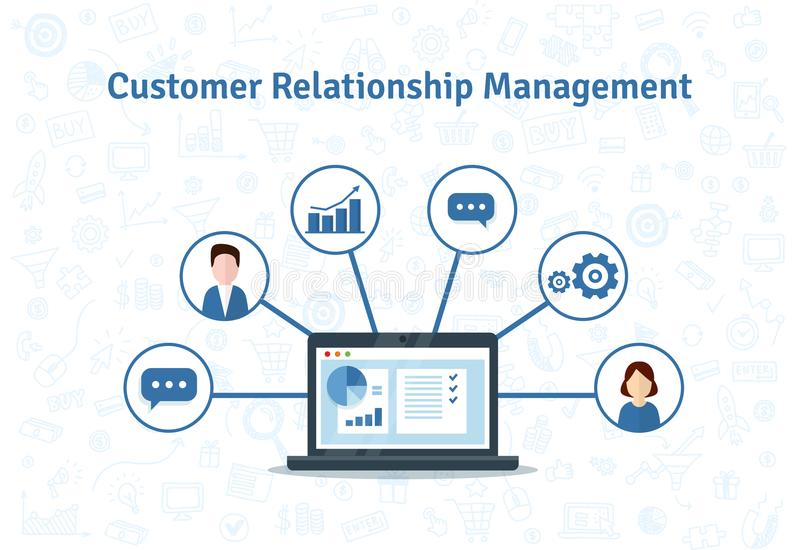 Организация данных на работе с клиентами, концепции CRM Иллюстрация вектора управления отношения клиента бесплатная иллюстрация