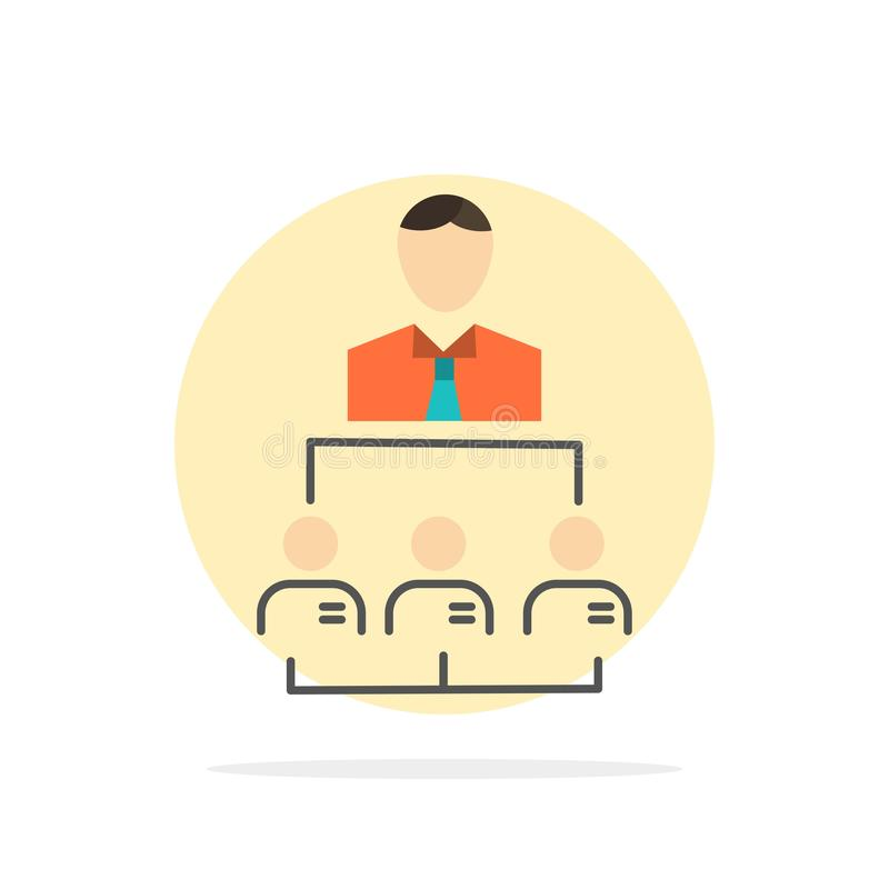 Организация, дело, человек, руководство, значок цвета предпосылки круга конспекта управления плоский иллюстрация вектора