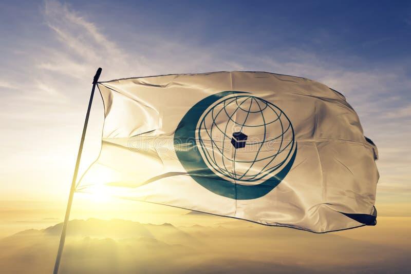 Организация исламской ткани ткани ткани флага сотрудничества OIC развевая на верхнем тумане тумана восхода солнца иллюстрация вектора