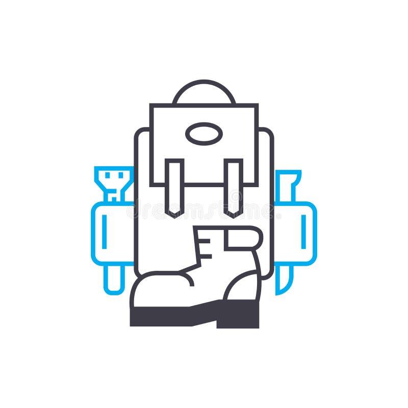 Организация концепции значка походов линейной Организация походов выравнивает знак вектора, символ, иллюстрацию бесплатная иллюстрация