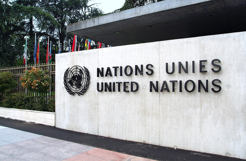 Организация Объединенных Наций в Женеве: вход стоковые фотографии rf