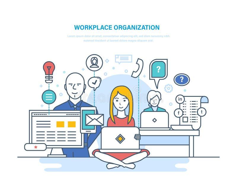 Организация рабочего места Сотрудничество, партнерства, сыгранность, внутренняя комната офиса, coworking, сотрудничество иллюстрация вектора