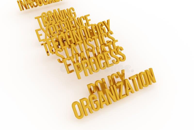 Организация, слова 3D дела схематические золотые Титр, сообщение, художественное произведение & цифровое иллюстрация штока