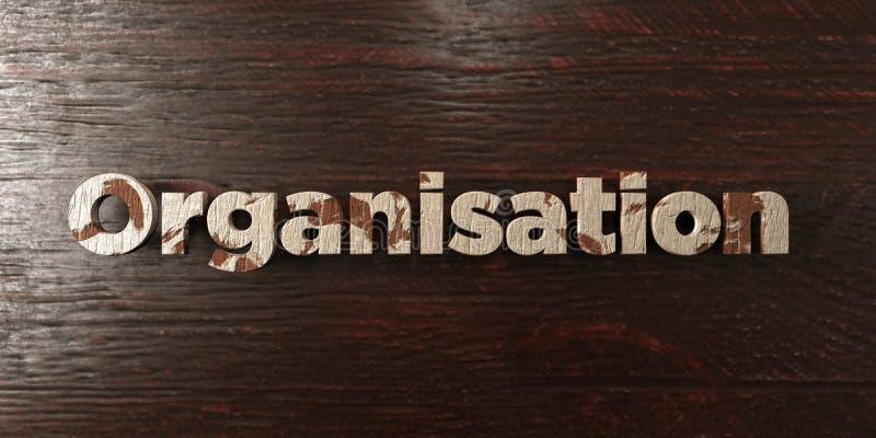 Организация - grungy деревянный заголовок на клене - представленное 3D изображение неизрасходованного запаса королевской власти иллюстрация штока