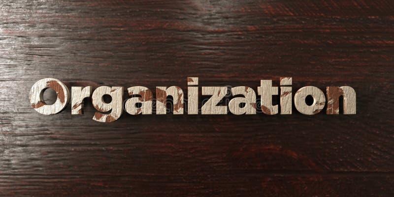 Организация - grungy деревянный заголовок на клене - представленное 3D изображение неизрасходованного запаса королевской власти иллюстрация вектора