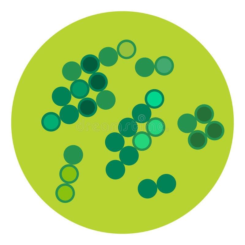 Организм микробиологии значка микробов вируса бактерий микроскопические изолированные человеческие и болезнь биологии инфекции ме иллюстрация вектора