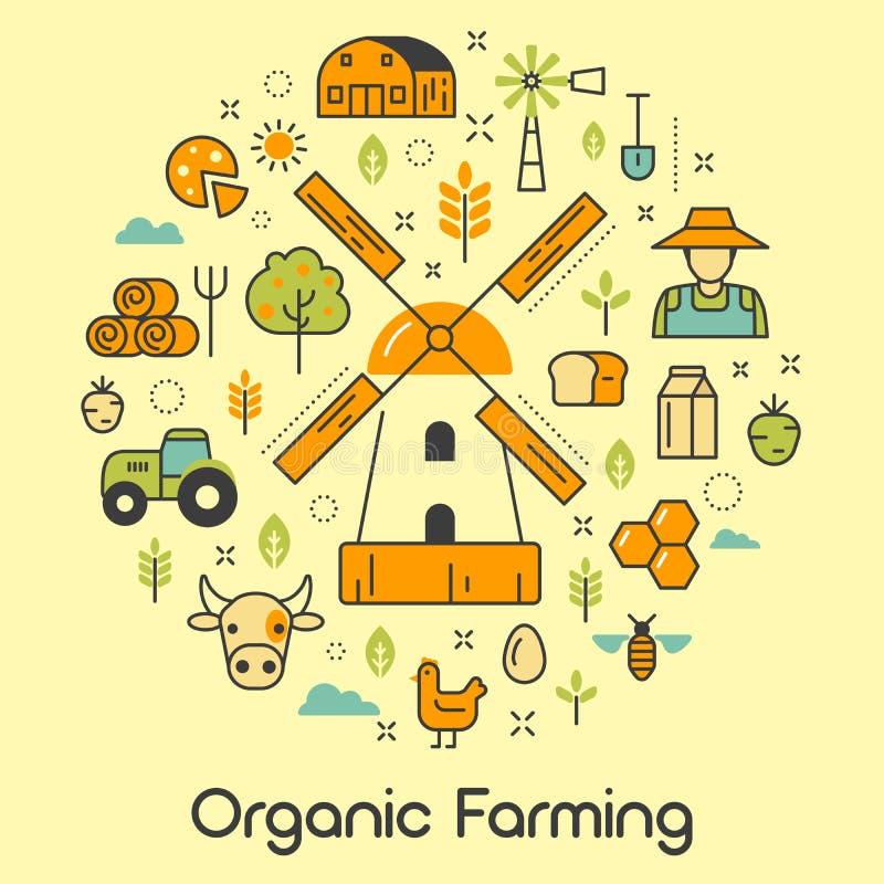 Органическая линия искусство сельского хозяйства утончает значки иллюстрация штока