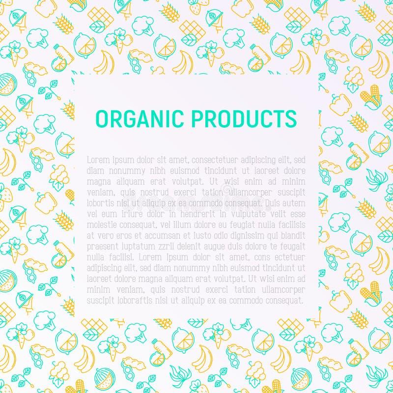 Органическая концепция продуктов с тонкой линией значками бесплатная иллюстрация