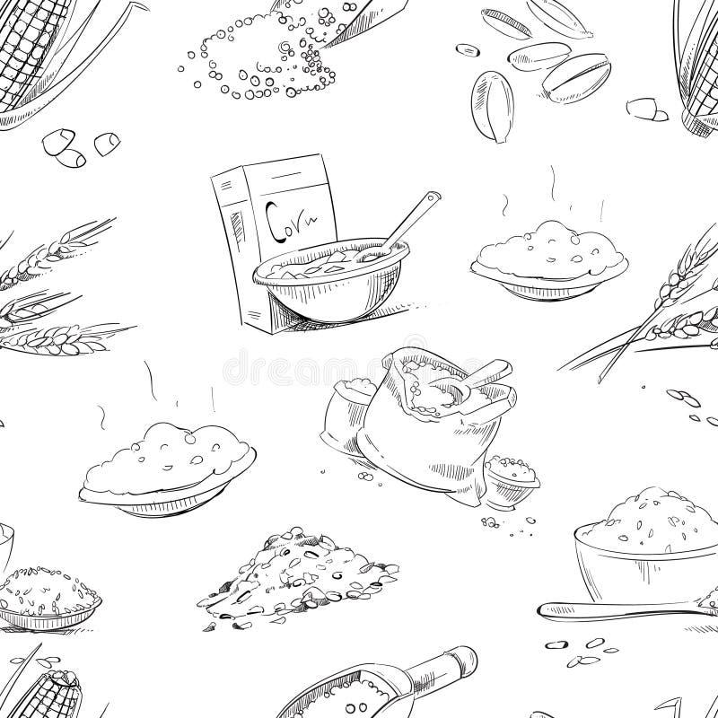Органические зерна фермы, хлопья, пшеница, ячмень, рожь, овсы, картина вектора риса безшовная иллюстрация вектора