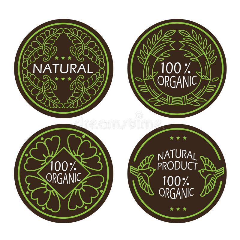 Органические значки естественных и eco установили с натуральным продучтом текста иллюстрация штока