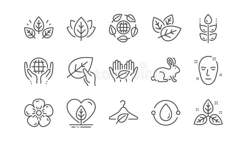 Органические косметики выравнивают значки Медленная мода, синтетическое благоухание, справедливая торговля Линейный набор r бесплатная иллюстрация