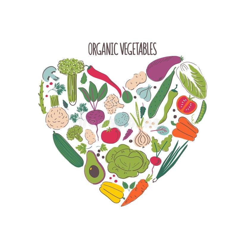 Органические овощи вручают вычерченную иллюстрацию цвета бесплатная иллюстрация